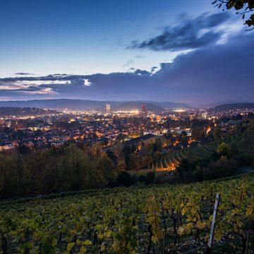 Winterthur kurz vor der Nacht
